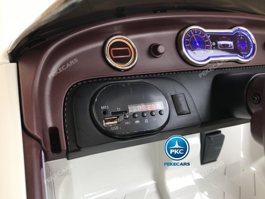 Coche electrico para niños Bentley EXP Blanco con conexión USB