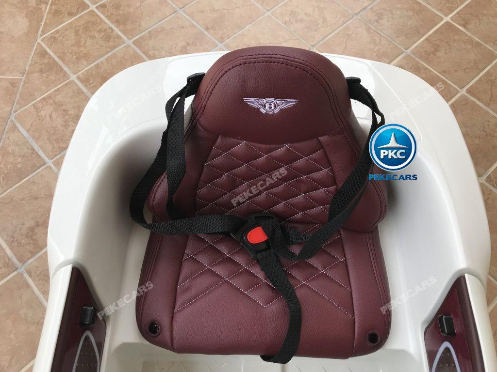 Coche electrico infantil Bentley EXP Blanco con asiento acolchado en piel