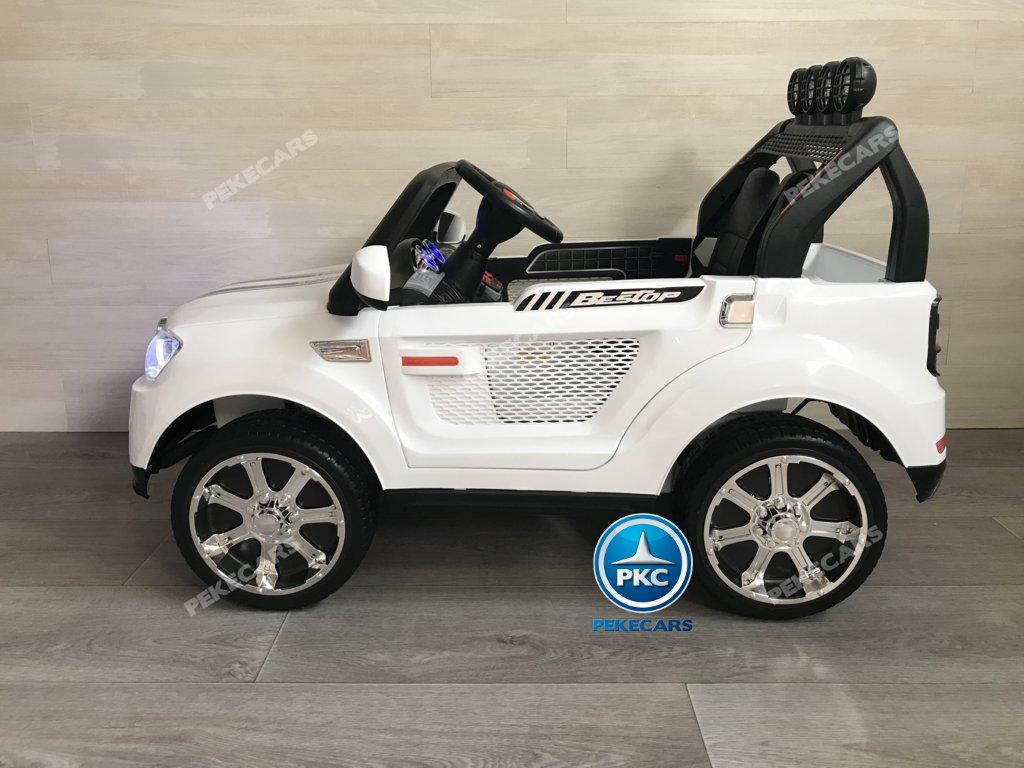 Coche electrico infantil BMW X7 Style 12V Blanco visto de lado