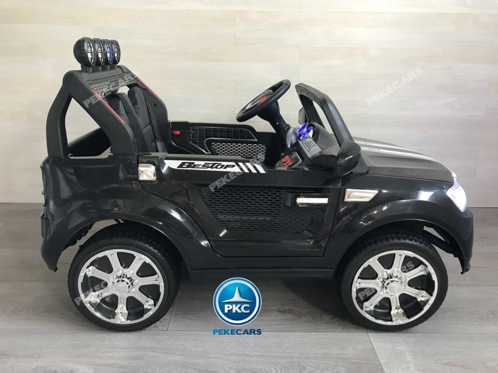 Coche electrico infantil BMW X7 Style 12V Negro visto de lado