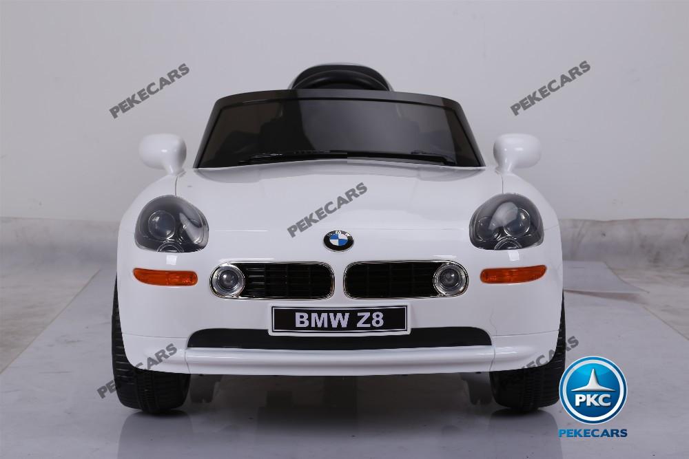 Coche eléctrico infantil BMW Z8 12V Blanco vista frontal