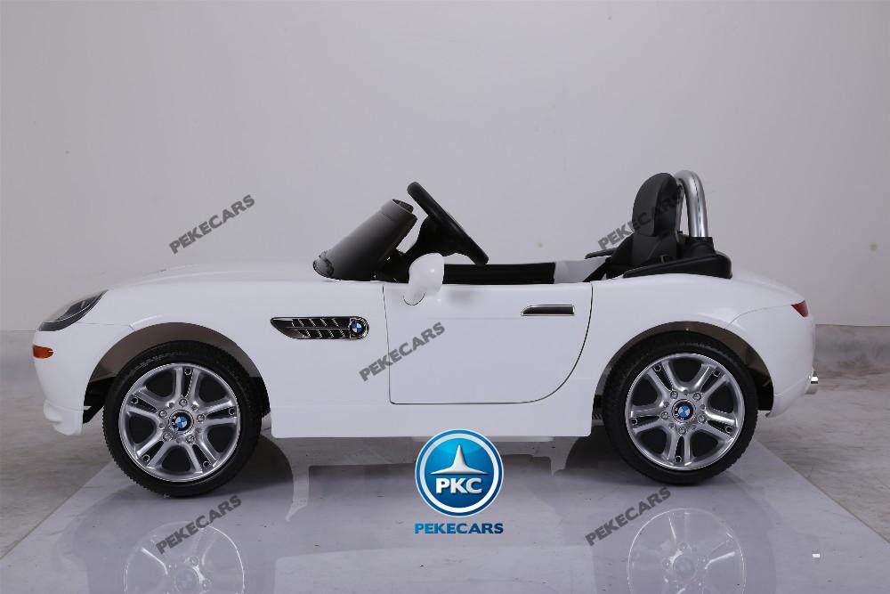 Coche eléctrico para niños BMW Z8 12V Blanco vista lateral