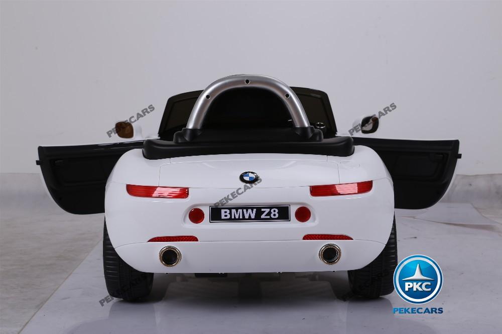 Coche eléctrico para niños BMW Z8 12V Blanco vista trasera