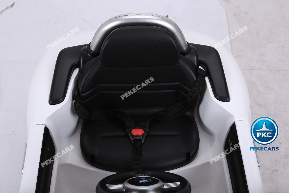 Coche eléctrico infantil BMW Z8 12V Blanco asiento acolchado en piel