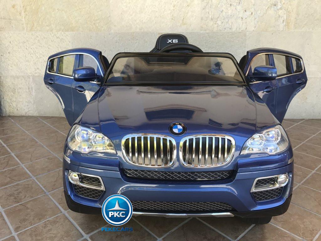 Coche electrico infantil BMW X6 Azul Metalizado vista frontal
