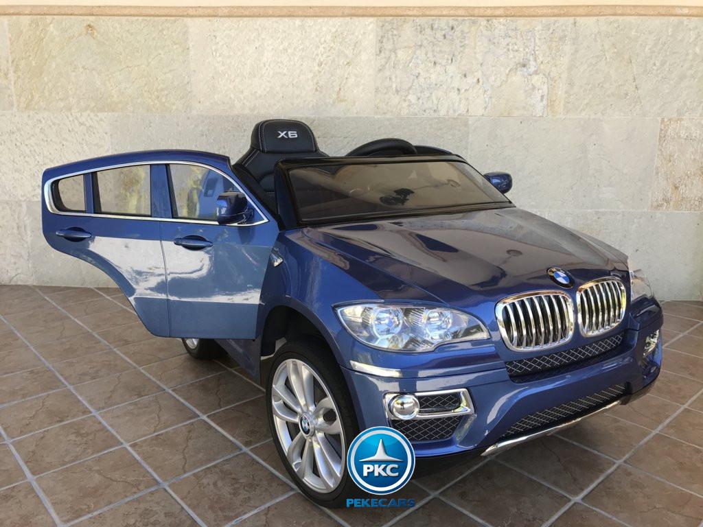 Coche electrico para niños BMW X6 Azul Metalizado con apertura de puertas