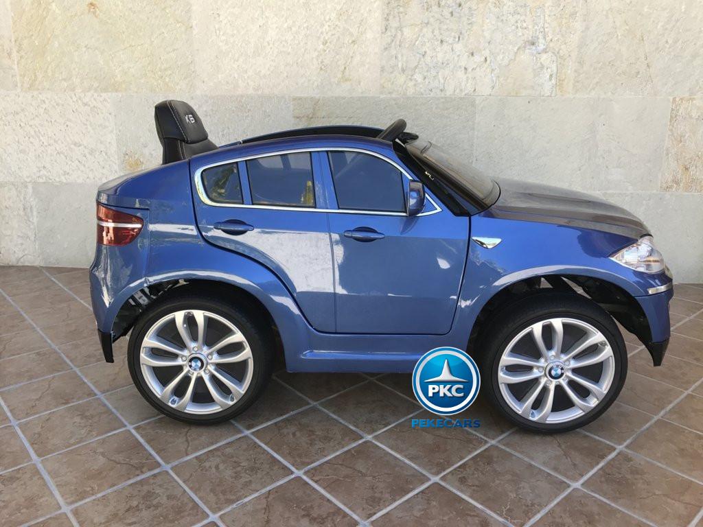 Coche electrico infantil BMW X6 Azul Metalizado vista lateral