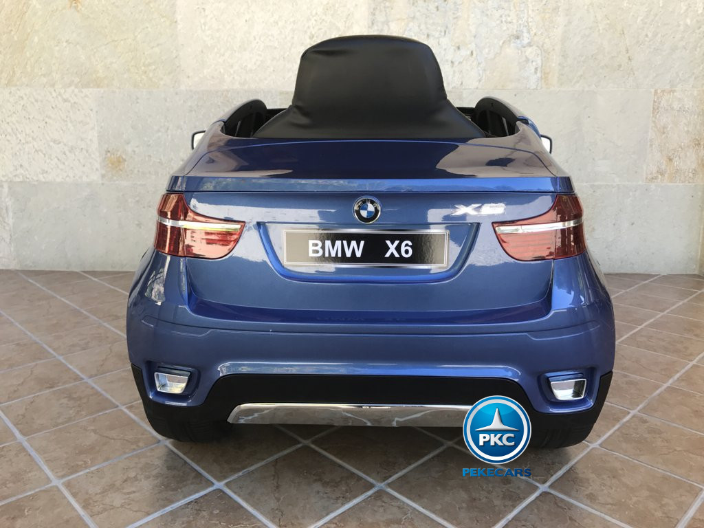 Coche electrico infantil BMW X6 Azul Metalizado vista trasera