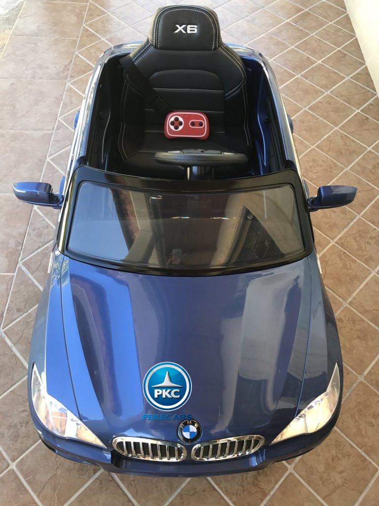 Coche electrico para niños BMW X6 Azul Metalizado visto desde arriba