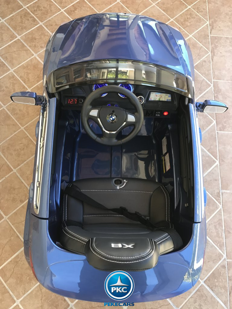 Coche electrico infantil BMW X6 Azul Metalizado interior