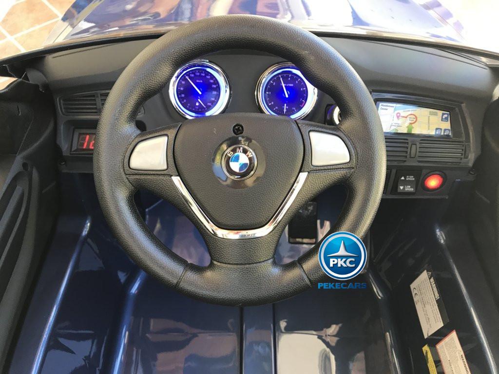 Coche electrico para niños BMW X6 Azul Metalizado volante con sonidos