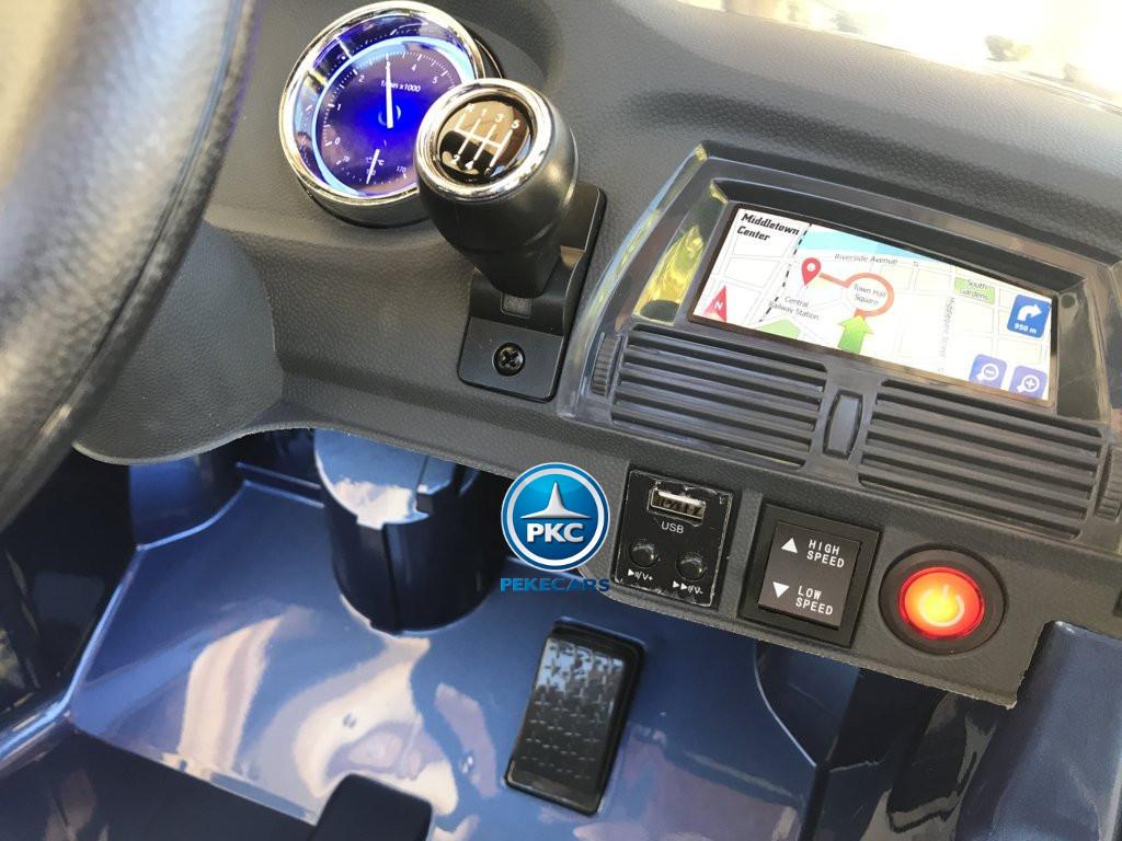 Coche electrico para niños BMW X6 Azul Metalizado con conexión USB