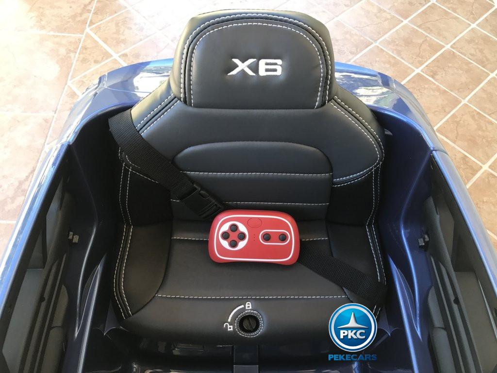 Coche electrico infantil BMW X6 Azul Metalizado asiento acolchado en piel