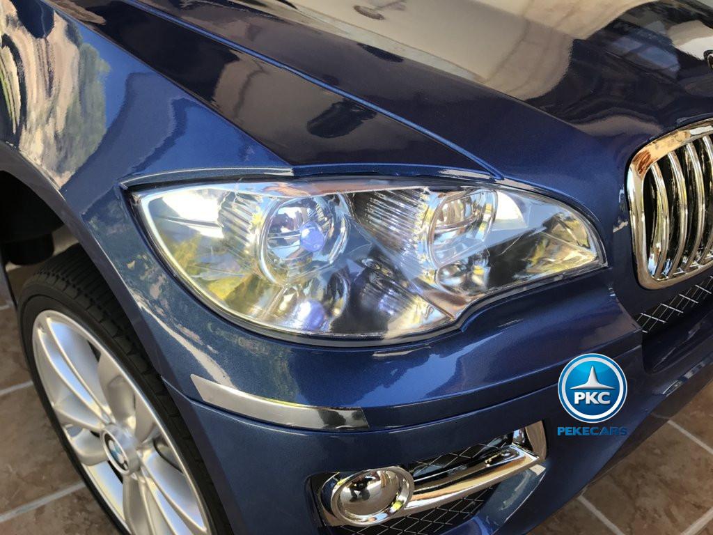 Coche electrico para niños BMW X6 Azul Metalizado luces LED delanteras