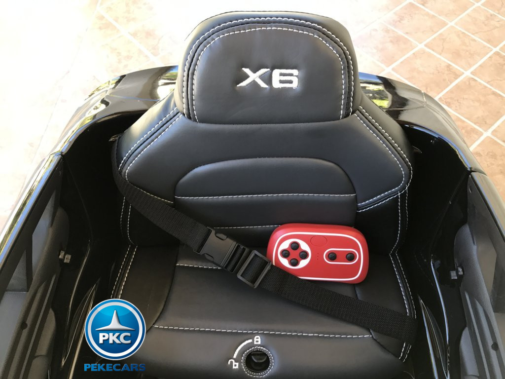Coche electrico infantil BMW X6 Negro Metalizado asiento acolchado en piel