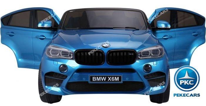 Coche electrico infantil BMW X6 2 plazas Azul Metalizado con asiento acolchado en piel