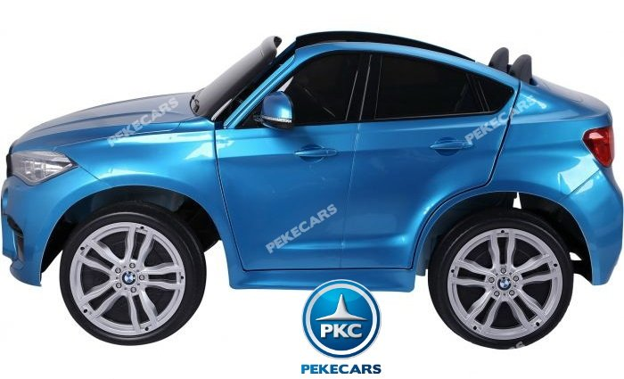 Coche electrico para niños BMW X6 2 plazas Azul Metalizado vista lateral
