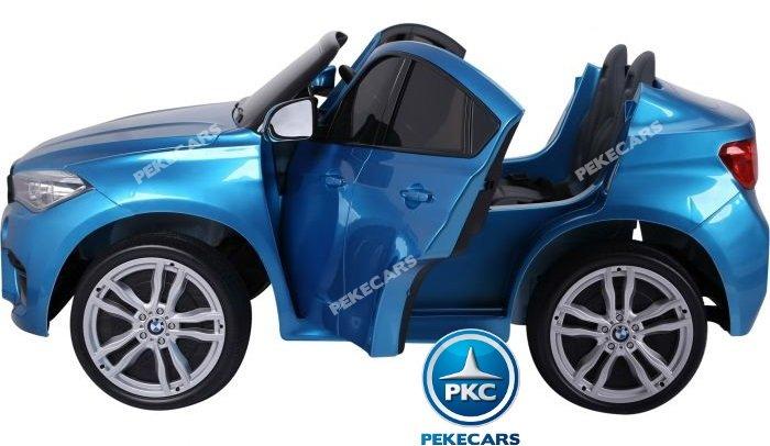 Coche electrico infantil BMW X6 2 plazas Azul Metalizado suspension en las 4 ruedas