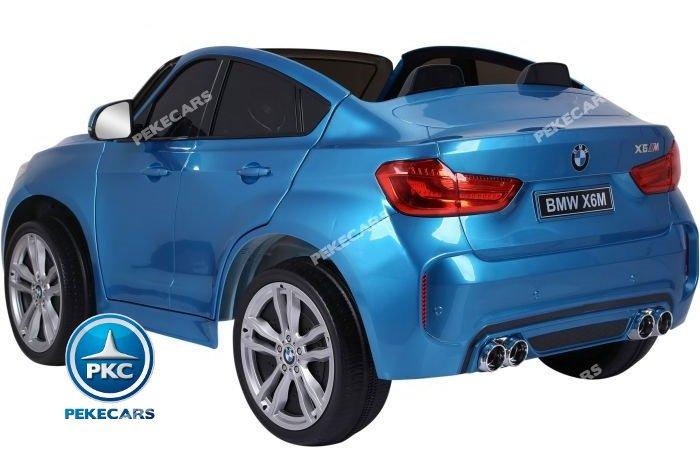 Coche electrico para niños BMW X6 2 plazas Azul Metalizado con ruedas de caucho antipinchazos