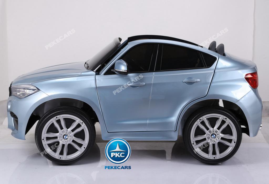 Coche electrico para niños BMW X6 2 plazas Plata Metalizado vista lateral