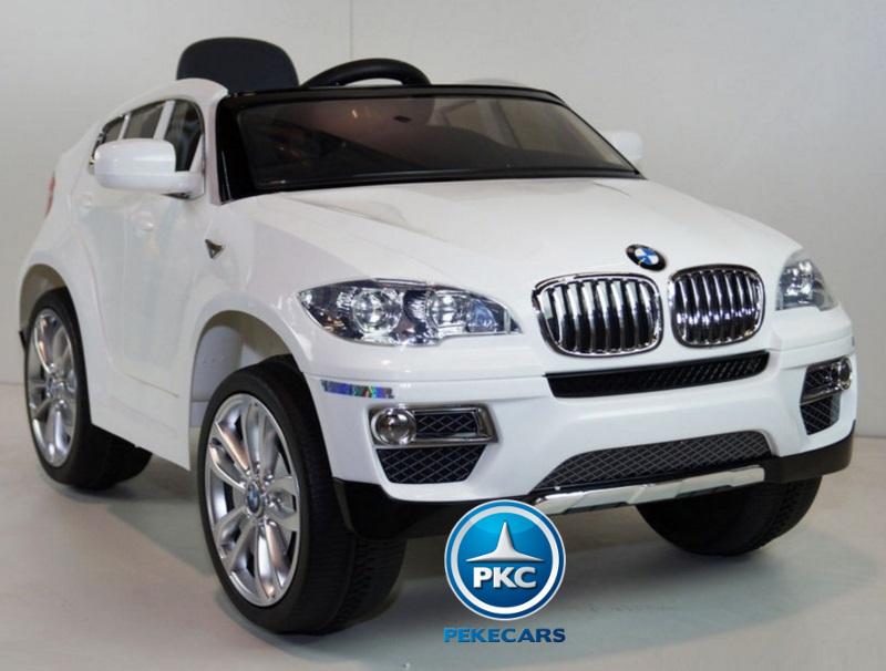 Coche electrico infantil BMW X6 Blanco con ruedas de caucho antipinchazos