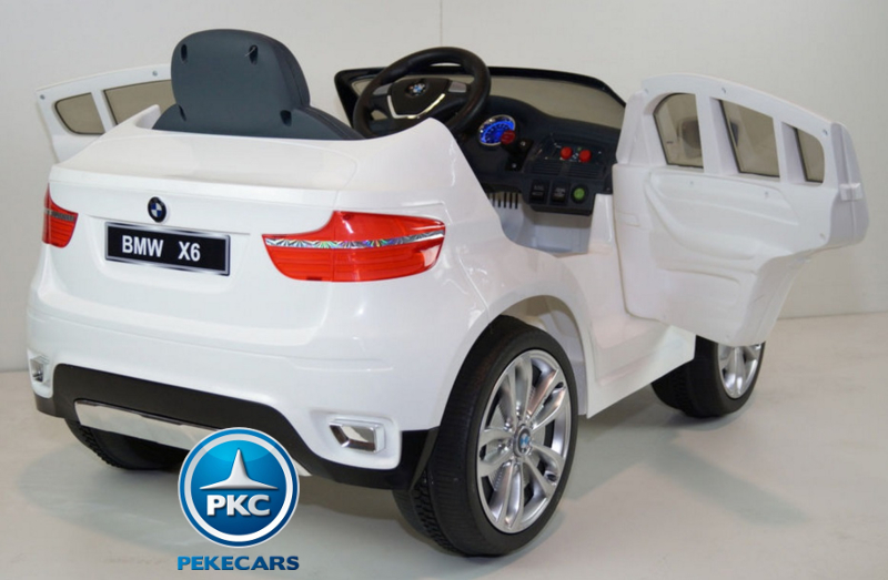 Coche electrico para niños BMW X6 Blanco con apertura de puertas