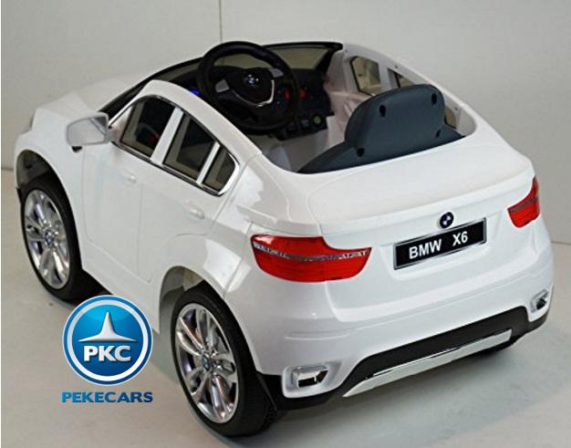 Coche electrico infantil BMW X6 Blanco con conexión USB