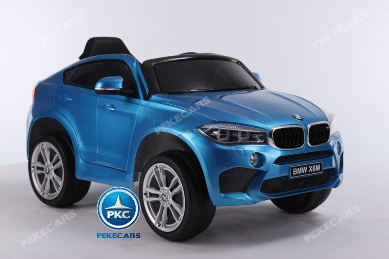 Coche electrico para niños BMW X6M Azul Metalizado con ruedas de caucho antipinchazos