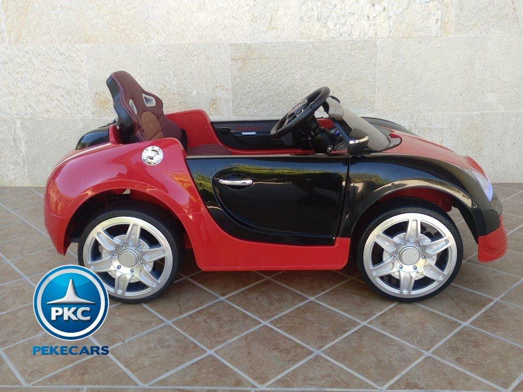 Coche electrico para niños Bugatti Veyron Style Rojo vista lateral