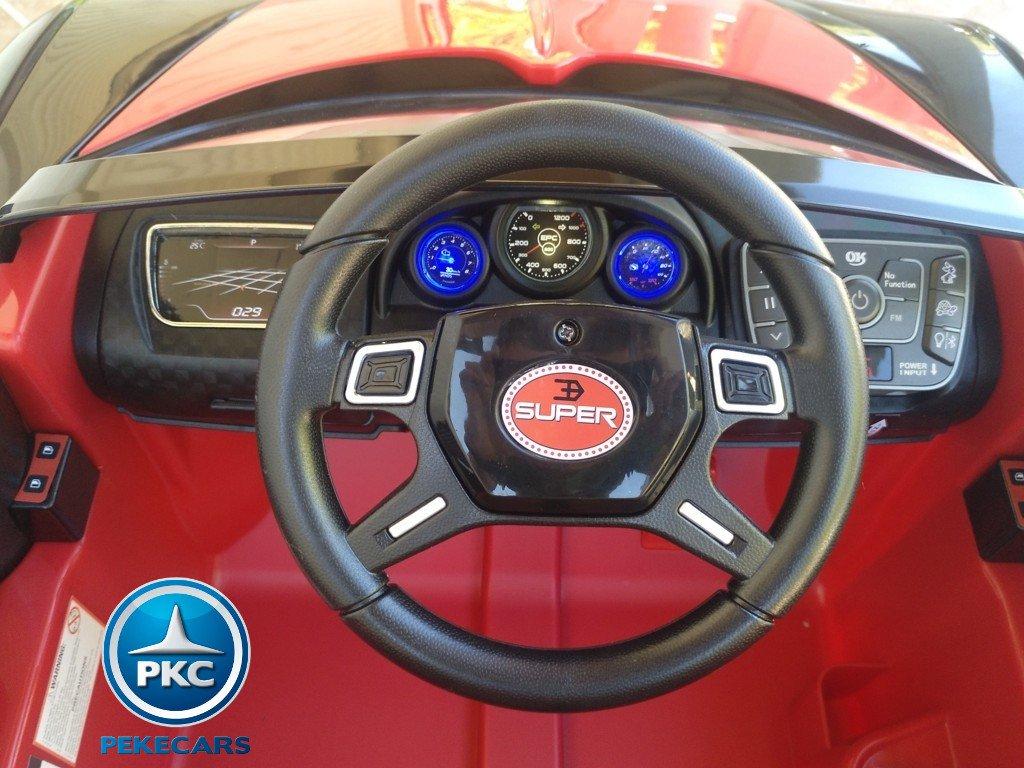Coche electrico Infantil Bugatti Veyron Style Rojo volante con musica y claxon