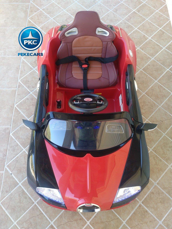 Coche electrico para niños Bugatti Veyron Style Rojo visto desde arriba