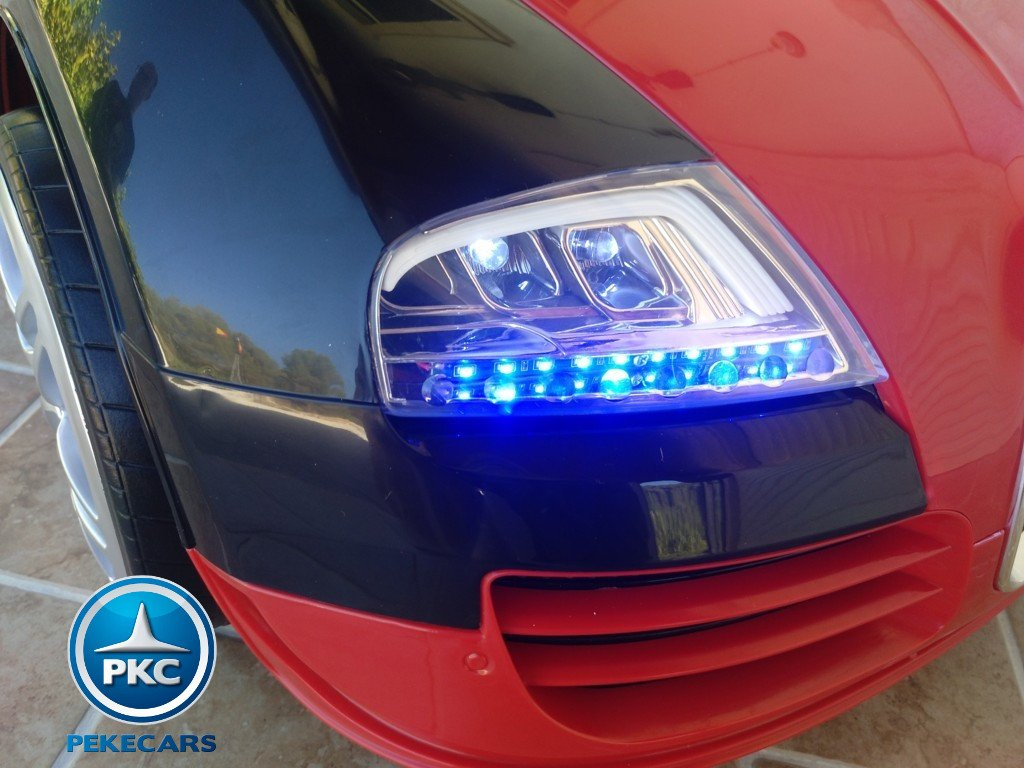 Coche electrico Infantil Bugatti Veyron Style Rojo luces LED frontales