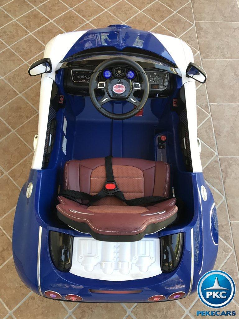 Coche electrico para niños Bugatti Veyron Style Azul detalles del interior