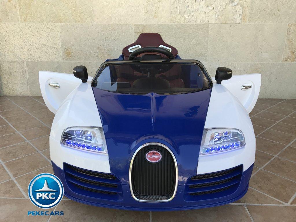 Coche electrico para niños Bugatti Veyron Style Azul vista frontal
