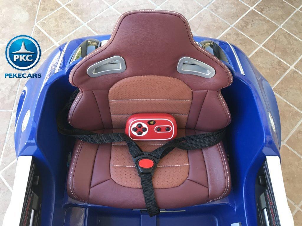 Coche electrico Infantil Bugatti Veyron Style Azul asiento acolchado en piel