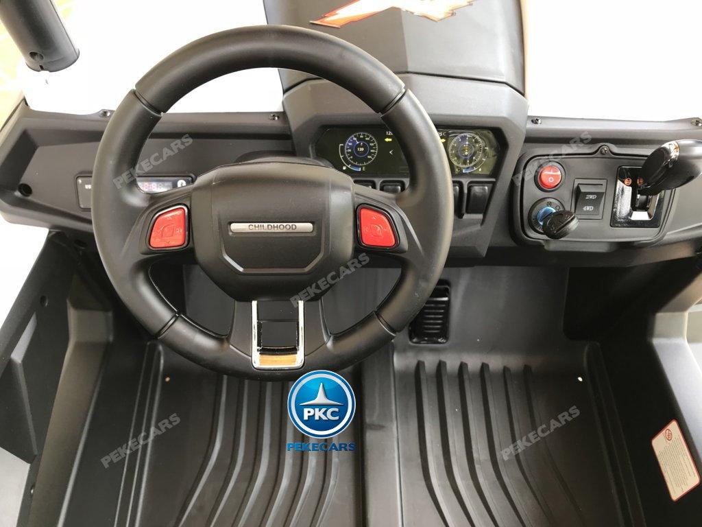 Coche electrico infantil Buggy UTV Blanco 2 plazas con el volante a la izquierda