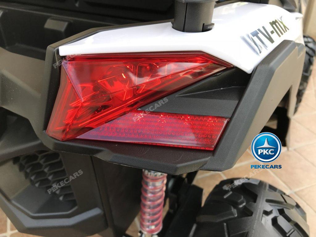 Coche electrico para niños Buggy UTV Blanco luces LED traseras