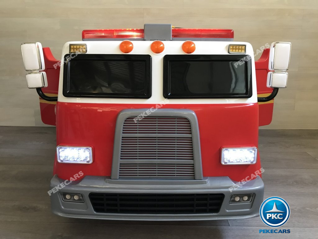 Coche electrico infantil camion de bomberos 12V vista frontal
