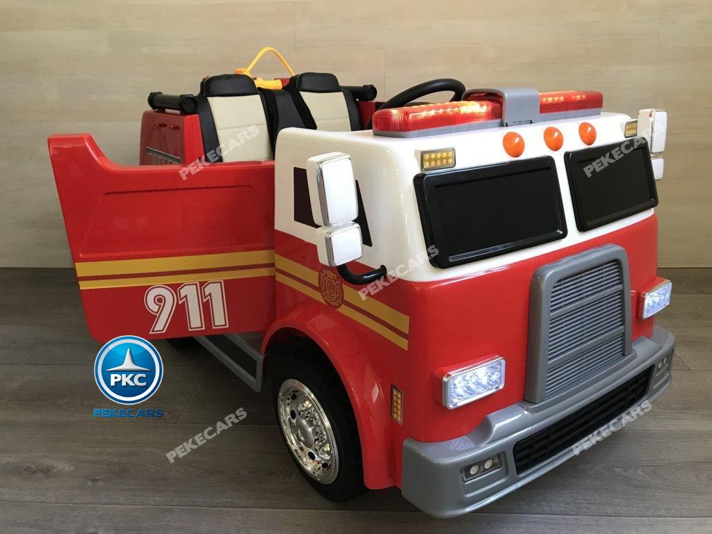 Coche electrico para niños camion de bomberos 12V con apertura de puertas