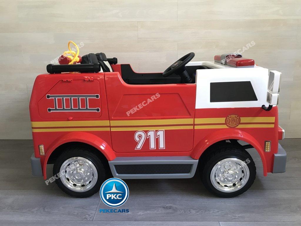 Coche electrico infantil camion de bomberos 12V vista lateral