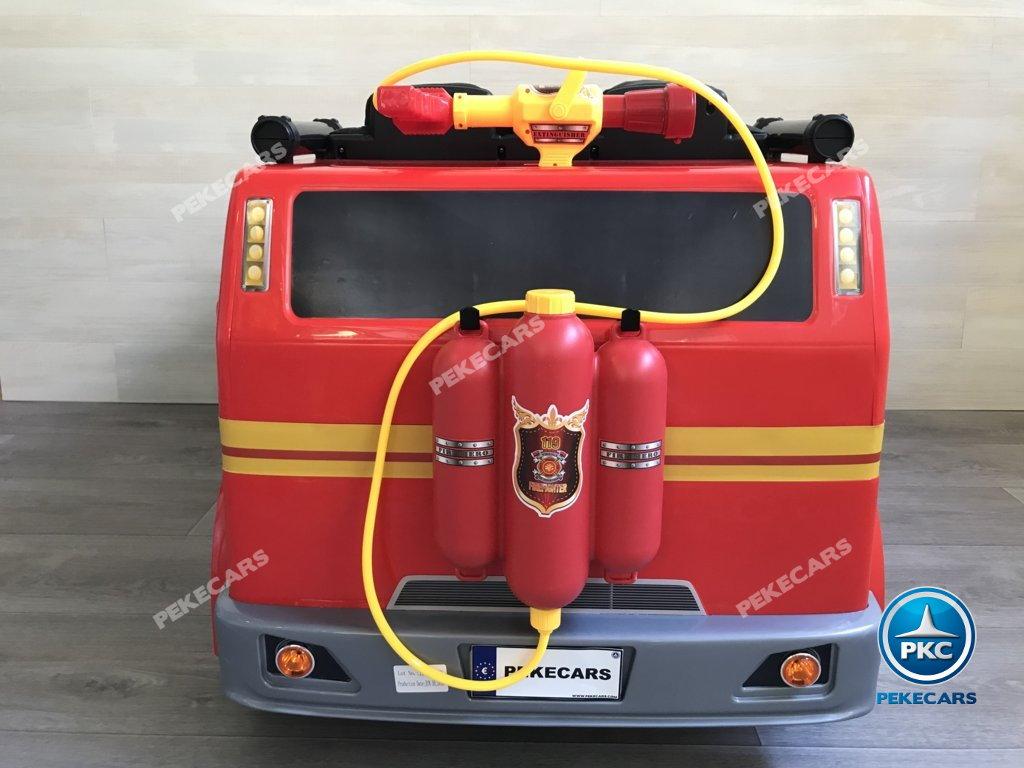 Coche electrico para niños camion de bomberos 12V vista trasera