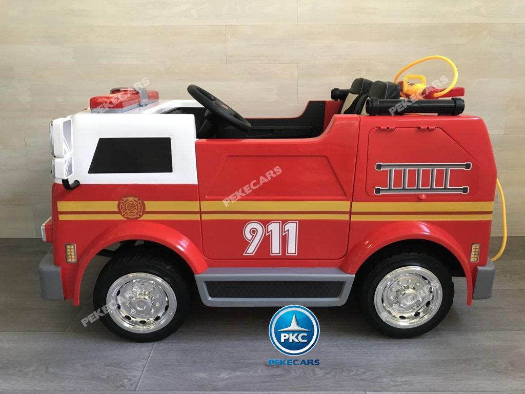 Coche electrico infantil camion de bomberos 12V con deposito de agua