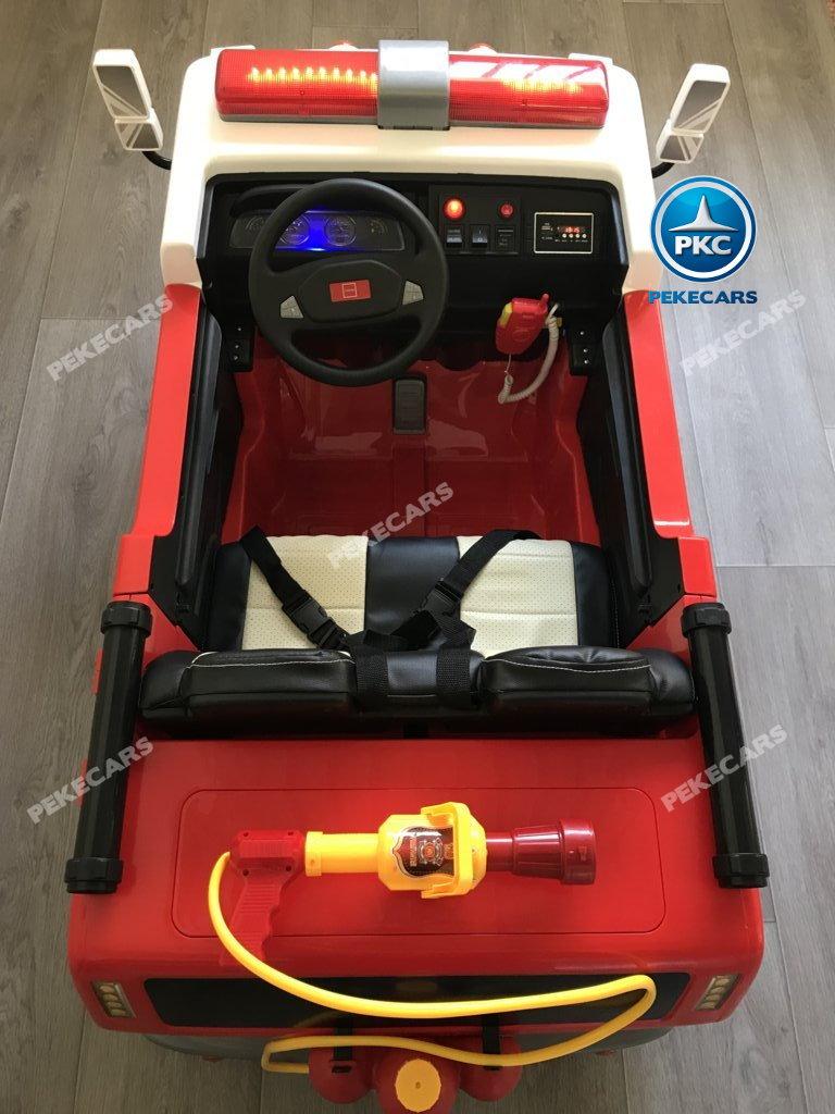 Coche electrico infantil camion de bomberos 12V detalles del interior