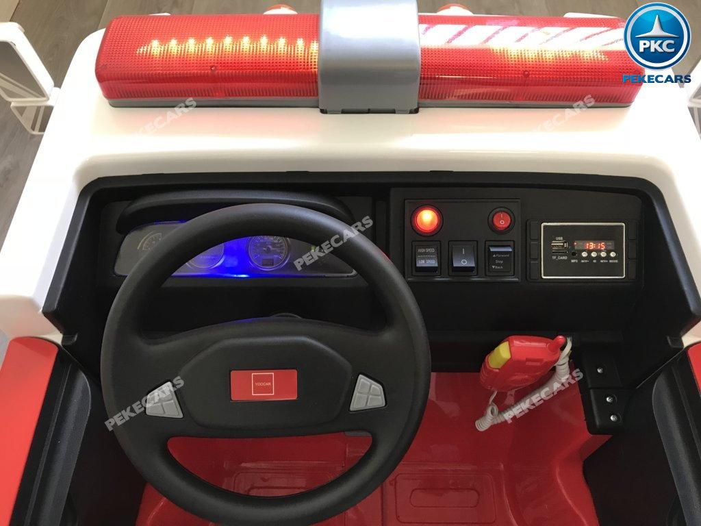 Coche electrico para niños camion de bomberos 12V volante con musica y claxon