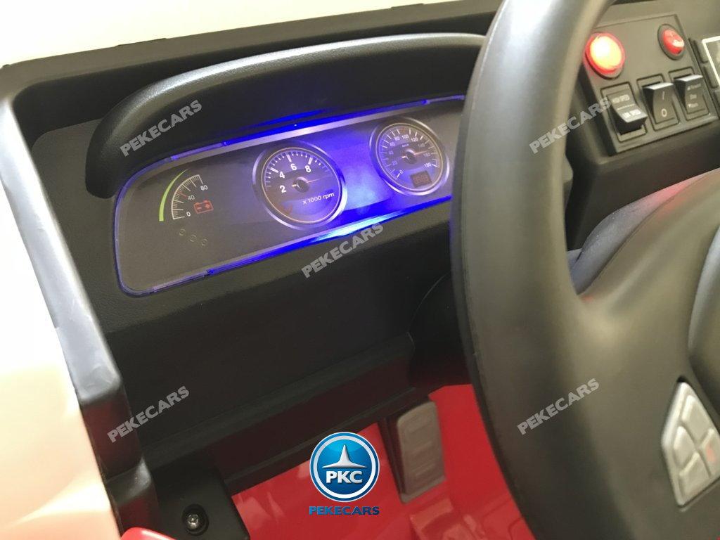 Coche electrico para niños camion de bomberos 12V salpicadero iluminado en azul