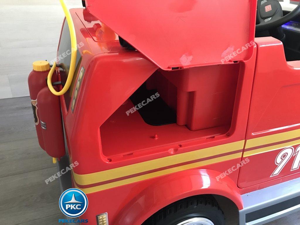 Coche electrico infantil camion de bomberos 12V amplio maletero