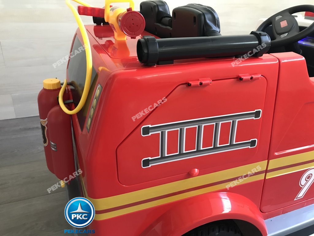 Coche electrico para niños camion de bomberos 12V maletero lateral