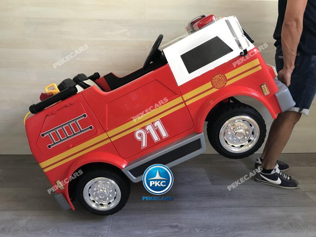 Coche electrico para niños camion de bomberos 12V con asa para facilitar el transporte