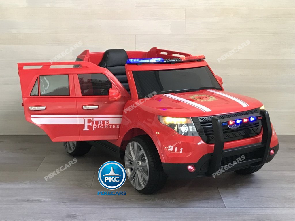 Coche electrico para niños jefe de bomberos 12V rojo vista principal