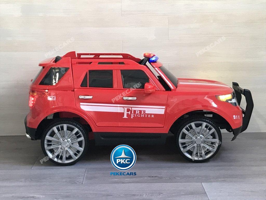 Coche electrico infantil jefe de bomberos 12V rojo vista lateral